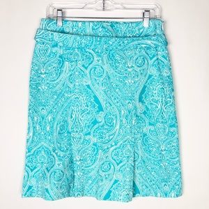 Talbots 4 Skirt Teal White Stretch Swirl Print A